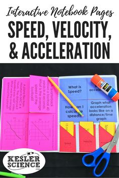 Average speed and acceleration word problems and graphing practice foldable worksheet. Speed, velocity, and acceleration card sort manipulative, perfect for teaching a lesson on Force and Motion! Turn science notebooks into a fun interactive activity, and hands-on learning experience for your upper elementary or middle school students! Grades 4th 5th 6th 7th 8th 9th 10th