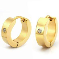 R&B Joyas - Pendientes de hombre, anillos clásicos & óxidos de circonio, acero inoxidable, color oro: Amazon.es: Joyería