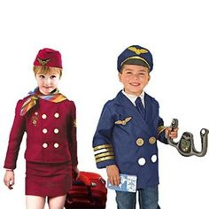 Amazon.com: Set of 2 Dress up Costumes 1 Pilot 2 Flight Attendant, with hats and accessories: Toys & Games