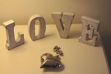 """Rustic Shabby Chic  Cream/ Brown Wooden   """"LOVE SIGN """" Four Individual Letters"""