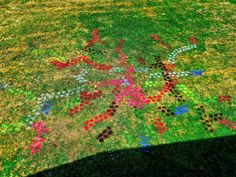 Spray painted designs on the lawn at the Art Junction during our Art Camps the summer of 2012.  A way to explore creativity in your own backyard!