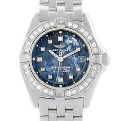 Breitling Callisto Ladies Blue Mother of Pearl Diamond Watch A72345