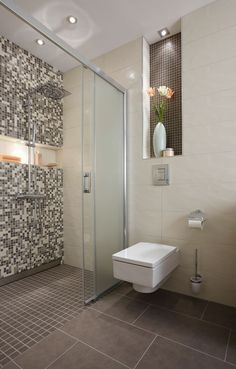 Wetroom with modern square wall hung  toilet