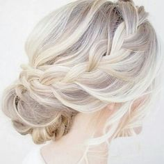 Ash blonde hair, white blonde hair, summer hair color, braided up do, grey hair, silver hair color