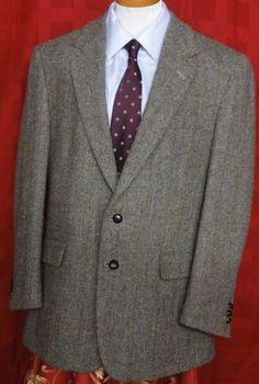 Harris Tweed Men's Multi color Herring Bone Tweed Wool Sport Coat Size 42 #HarrisTweed #TwoButton