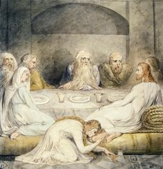 "William Blake (1757–1827, Britain), Mary Magdalen Washing Christ's Feet, from a series on The Life of Christ, ca. 1805. Ink and watercolor on paper, 13 3/4"" x 13 5/8"" (34.9 x 34.6 cm). © Philadelphia Museum of Art. (PMA-1704)"