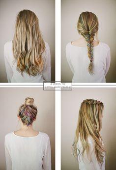 Hair chalk styling ideas.
