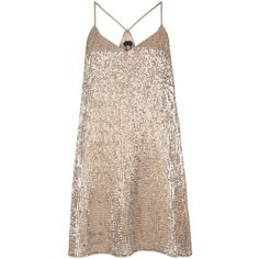 Shop Gold Strappy Sequin Slip Dress - New Look