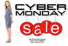 Cyber Monday Maternity Sale! 50% Off MotherhoodCloset.com Maternity Consignment Online Store. (When you spend $85).