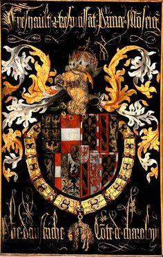 Golden Fleece Order Stall-plate of 89. Philip the Fair, Archduke of Austria, later King of Spain (1479-1506), Sint-Rumoldus Kerk Mechelen, by Pierre Coustain, 1491.
