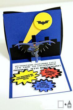 Invitaciones de Batman de invitación  Pop Up Card  Batman