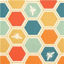 colourful bee honeycomb organic fabric by birch from the USA - Animal Fabric - Fabric
