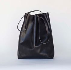 Large Black Leather Tote Bag  oversized black leather tote by sord, $250.00