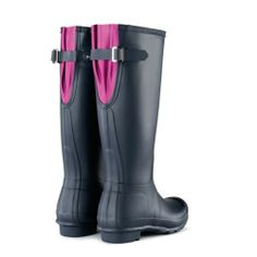 Hunter Original Back Adjustable Wellington Boots W24893 Navy/Lipstick NEW 2014 | eBay