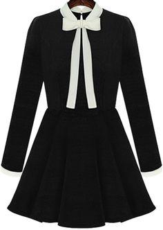 Black Long Sleeve Bow Flouncing Dress