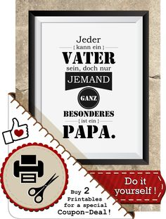 """Spruch Printable """"Vater und Papa"""" inkl.Geschenkanhänger, Bild zum Selbermachen, trendige Prints, Deko-Trend, Mann, Er, Papa, Vatertag, Opa von animoARTshop auf Etsy"""
