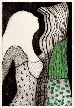 Kvinde Grøn  Collografi, tusch 22x15