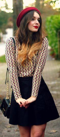 joli béret lacoste rouge pour les filles de style street