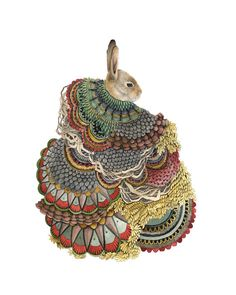 Quilted Forest: the Rabbit // 8x10 Art Print // by Polanshek of the Hills