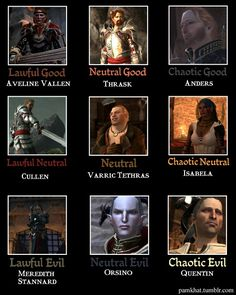Alignment memes are usually pretty off, but this Dragon Age 2 one is pretty much on target. ~Artist unknown