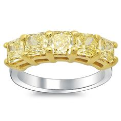 Fancy Yellow Diamond Ring 5 Stone 2.63cttw