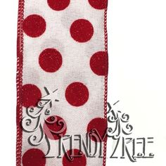 """2.5"""" White Faux Canvas Red Glitter Flocked Dots"""