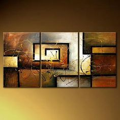 hand painted modern oil painting `deco tulips` 3 piece canvas art