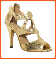 a754b04e124 Minishion QJ7008 Womens T-strap Gold Leather Salsa Tango Ballroom Latin  Party Wedding Dance Shoes