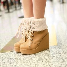 Tan White Pink Platform Wedge Lace Up Fur Folded Down Inside Cute Short Ankle Boots For Women 2013 Plus Size 40 41 42 43 9 10 11 $91.44 - 97.95