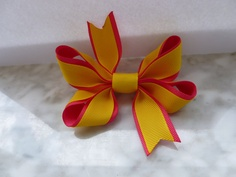 Summer Yellow and Pink Girls Hair Bow Small by krapflgirl on Etsy, $2.50
