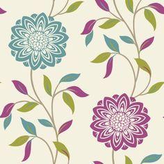 Fine Decor Chloe Wallpaper Teal / Pink / White Feature Wallpaper, Print Wallpaper, Pattern Wallpaper, Wallpaper Ideas, Wallpaper Grey And Beige, Latest Wallpaper Designs, Pink And Green, Pink White, Textile Pattern Design