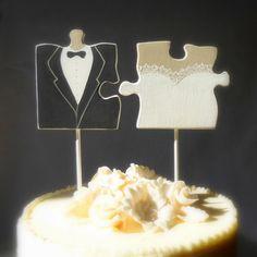 Puzzle Piece Wedding Cake Topper,  Mr. and Mrs. Cake Topper with Hand Carved Wood Puzzle Pieces, Black/ White Wedding Decor