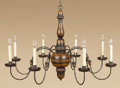 Chandelier with Acorn Motifs. I could see this in a log cabin.