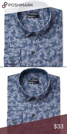 Bar III-Blue Indigo Camoflauge Slim Fit Shirt Med Manufacturer: Bar III Size: Medium Size Origin: US Manufacturer Color: Blue Indigo  Retail: $65.00 Condition: New With Tags Sleeve Length: 32/33 Style Type: Dress Shirt Collection: Bar III Sleeve Length: Long Sleeve Collar: Button-Down Collar Material: 100% Cotton Fabric Type: Cotton Specialty: Camouflage A slim fit is cut closer through the chest, sleeves and waist  Features slim armholes and sleeves ITEM#0298 Bar III Shirts Dress Shirts