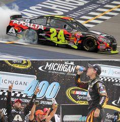 Jeff Gordon wins wild #NASCAR race at Michigan August 17, 2014