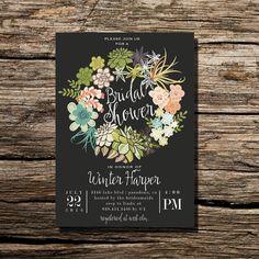 Rustic Cactus Succulent Wreath Desert Wreath Bridal Shower Invitation DIY Printable Wedding Invite Printable Bridal Invite