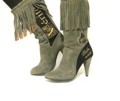 Hand Painted Boots Suede French John 316 by TheWoodsSecretGarden, $189.00