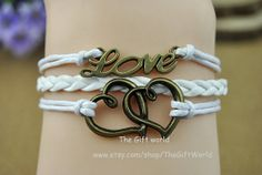 Bronze bracelet  Double love bracelet White cuff by TheGiftWorld, $3.99 Stylish handmade leather bracelet,the best gift of friendship
