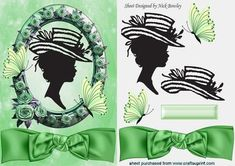 PRETTY IN GREEN PINK ROSE FRAME SILHOUETTE LADY on Craftsuprint - Add To Basket!