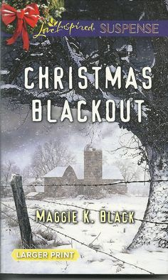 Product Details  •Title: Christmas Blackout • Author: Maggie K. Black • Mass Market Paperback: 280 pages • Publisher:  Love Inspired Large Print Edition (November 3, 2015)  • Language: English • ISBN-10: 0373677170 • ISBN-13: 978-0373677177 • Product Dimensions:  4.2 x 0.8 x 6.6 inches  •Condition: Very Good, no markings, tears, or rips. Tight Binding, soft cover shows some minor wear, Read Once and stored