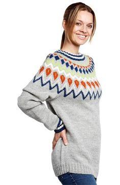 Oppskrift på unisexgenser med mønstret bærestykke strikket i Semilla.