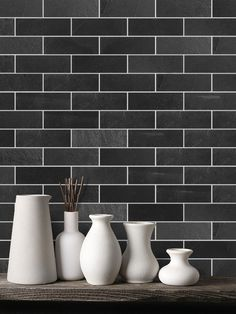 From contemporary and modern designs black backsplash ideas. Give a statement with black backsplash tile to your kitchen or bathroom projects. Black Subway Tiles, Subway Tile Kitchen, Black Tiles, White Kitchen Cabinets, Kitchen Backsplash, Backsplash Wallpaper, Backsplash Ideas, Kitchen Countertops, Dark Granite Countertops