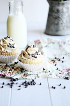 French Vanilla Cupcakes with Chocolate Chip Cookie Dough Frosting - Recipe