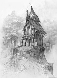Bleistiftzeichnung eines einsamen Hauses