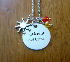 Disney's Lion King Inspired Necklace. Hakuna Matata (it means no worries) by WithLoveFromOC, $21.00. Swarovski crystals & a sun charm :)