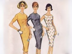 Vintage 1960 Sewing Pattern - Dart Fitted Basic Sheath Dress for Tall, Averate, or Short Figures, Easy to Sew - McCalls 5395, Bust 32, Uncut. $5.00, via Etsy.