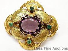 Civil War Era Victorian Pin 14k+ Gold Fine Natural Emerald  Amethyst Glass