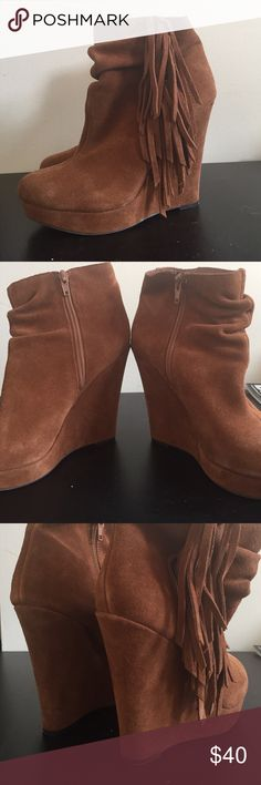 Steve Madden -Madden girl pave wedge booties Chic pointed toe wedge heel. Inside zipper clouded - side fringe detail. Steve Madden Shoes Wedges