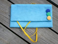 turquoise CLUTCH  small decorated colored dots with by bandabag