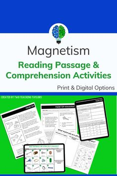 Magnetism reading passage with comprehension activities provide flexible options for teaching about physical properties of matter. Aligns with 4th grade and grade 5 standards for kids science lessons. Students can take notes over the force of magnetism before completing the sorting activity and assessment. Includes comprehension questions over the magnetism passage. Science Vocabulary, Science Standards, Science Lessons, 5th Grade Science, Science Student, Science For Kids, Comprehension Activities, Comprehension Questions, Sorting Activities